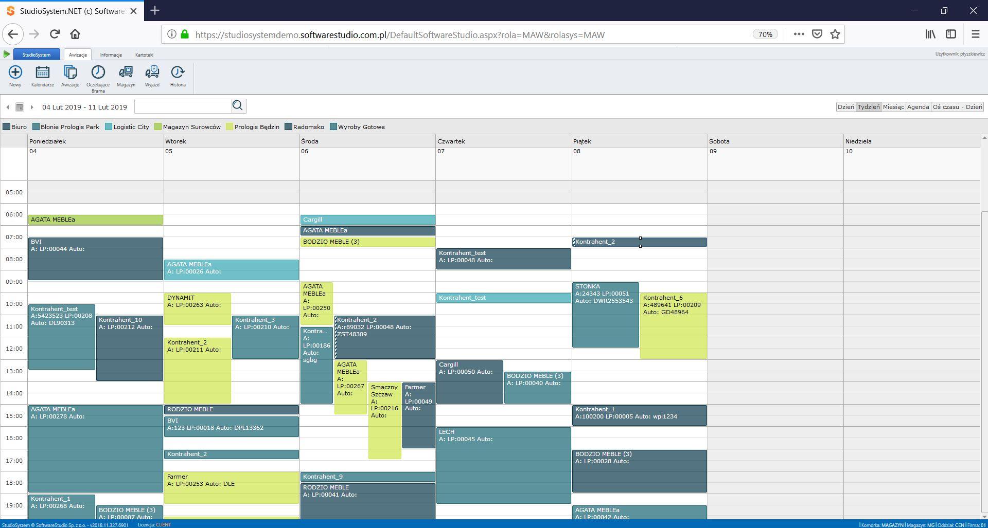 okna czasowe - kalendarz tygodniowy. Awizowanie