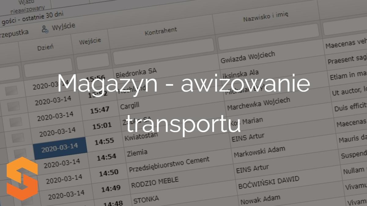 system do zarządzania dostawami online,magazyn - awizowanie transportu